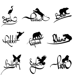Set of animals silhouette with lettering vector
