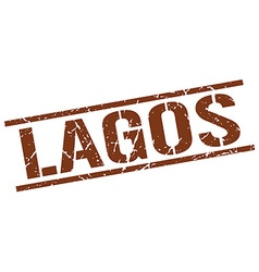 Lagos brown square stamp vector