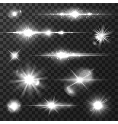 Sun light lens flare shining star for art design vector image