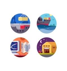Maritime logistics and transportation vector