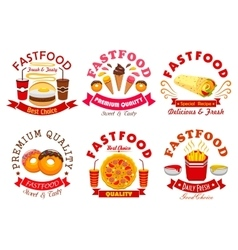 Fast food cafe and pizzeria sign set vector