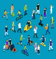 Isometric social crowd template vector