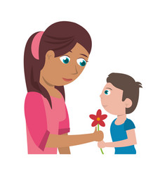 Son give flower mother vector