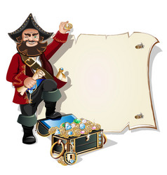 Treasure chest and pirate blank frame vector