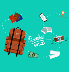 Tourism of the backpack traveler with fast travel vector