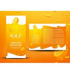 brochure folder juice fruit drops liquid orange vector image