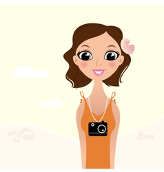Beautiful tourist photographer girl vector