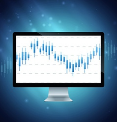 Computer with forex chart on desktop vector