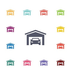 Car garage flat icons set vector