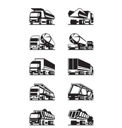 Different types of trucks with trailers vector
