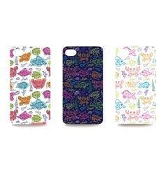 Mobile phone cover back set with sea life pattern vector