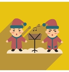 flat icon with long shadow children sing carols vector image
