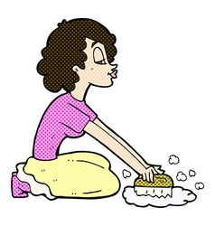 Comic cartoon woman scrubbing floor vector