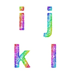 Rainbow sketch font set - lowercase letters i j k vector