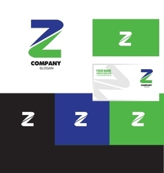 Letter z logo green blue vector