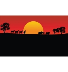 Landscape zebra and rhino silhouette with sun vector