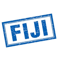 Fiji blue square grunge stamp on white vector