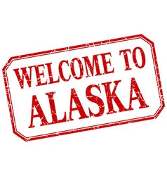 Alaska - welcome red vintage isolated label vector