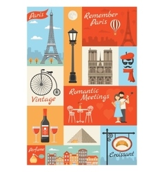 France paris vintage style icons set vector