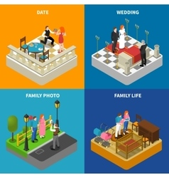 Family 4 isometric icons square banner vector