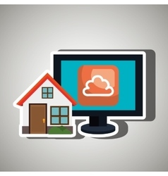 Smart home with cloud computing isolated icon vector