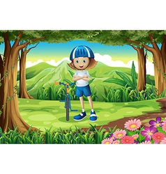 A girl and her bike at the forest vector image vector image