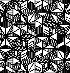 Abstract black and white cube geometric pattern in vector