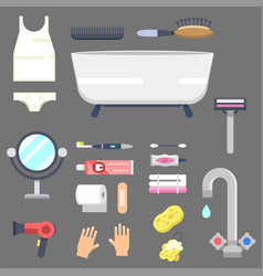 bath equipment icons modern shower colorful vector image vector image