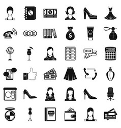 Beautiful woman icons set simple style vector