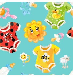 Bright seamless background of childrens clothes vector image