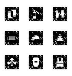 Construction ground icons set grunge style vector