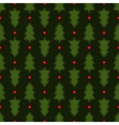Dark green christmas fir tree seamless pattern vector
