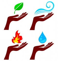 hand with nature elements vector image vector image
