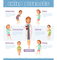 infantile diseases cartoon poster vector image vector image