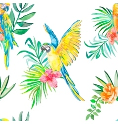 Macaw seamless pattern Palm leaves and tropical vector image
