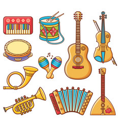 Musical instrument ornament cartoon style vector