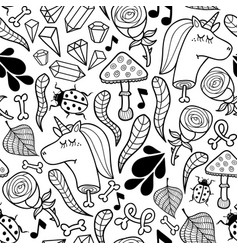 seamless background unicorns and autumn plants vector image vector image