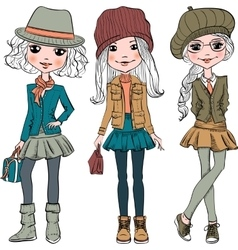 set cute fashion hipster girl vector image vector image