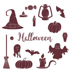 Set of hallowen elements goast pumpkin vector