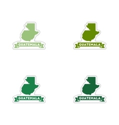 Set of paper stickers on white background map vector image vector image