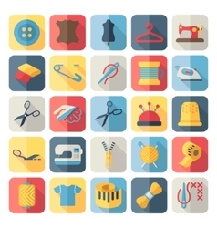 sewing equipment and needlework flat icons vector image vector image