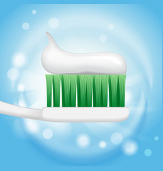 Toothpaste ads toothpaste on toothbrush on the vector
