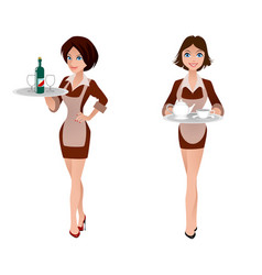 two cute waitress vector image vector image
