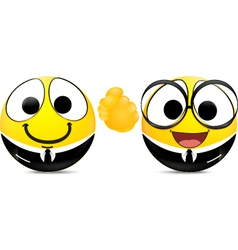 Two emoticons shaking hands vector image vector image
