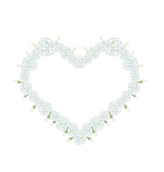 White Jasmine Flowers in A Heart Shape vector image