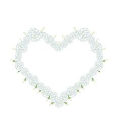 White jasmine flowers in a heart shape vector