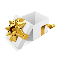 white open gift present box with gold bow vector image vector image