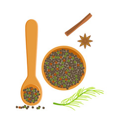 wooden bowl and spoon of peppercorns herbs and vector image