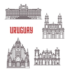 Uruguayan travel landmarks thin line icon vector