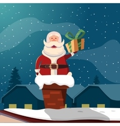 Santa claus in chimney funny vector